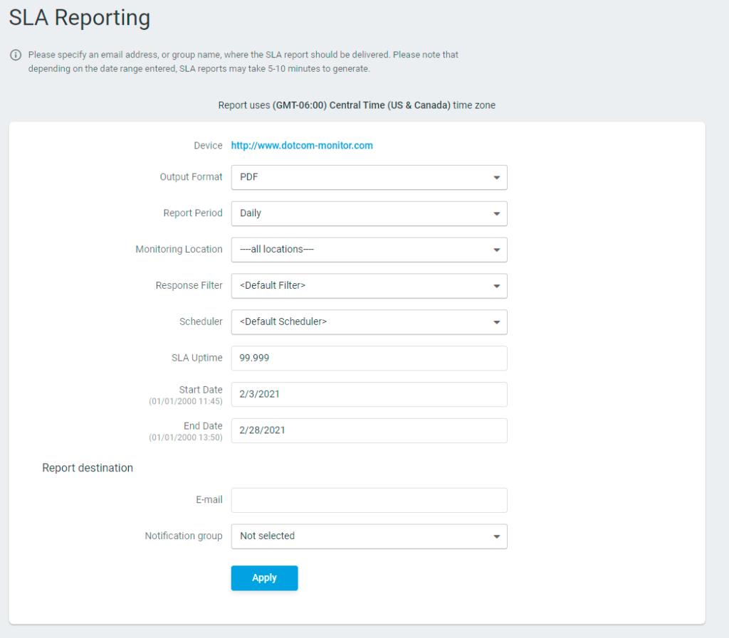 Configuración del informe de SLA